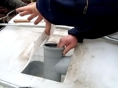 В самодельный септик из еврокубов вставляется тройник