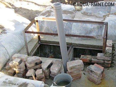 Установка уголков на контрольный люк бетонного септика
