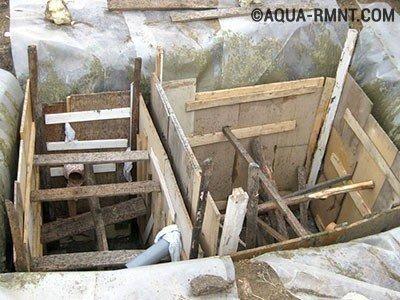 Установка опалубки, чтобы построить монолитный бетонный септик