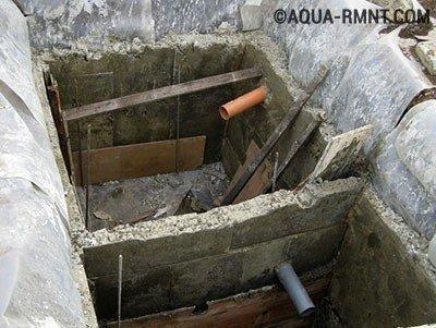 Стенки монолитного бетонного септика готовы