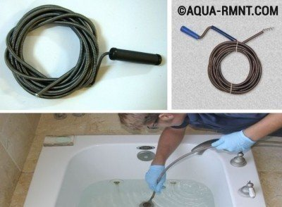 Как очистить засор в ванной - применение троса