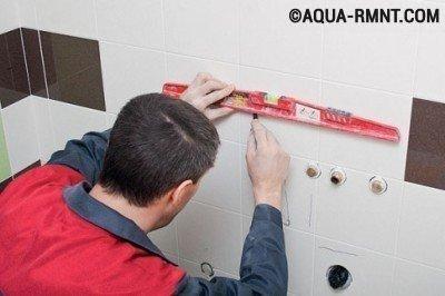 Установка раковины в ванной: разметка