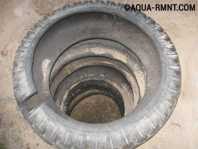 Септик из покрышек: выпиливаем отверстие для канализационной трубы