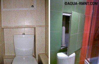 Облицовка плиткой при закрытии труб в туалете