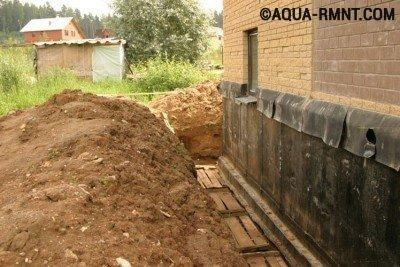 Устройство дренажа вокруг дома: пристенная конструкция
