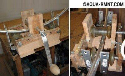 Аналогичное приспособление позволяет согнуть профильную трубу под любым углом, при этом рабочий тратит минимум физических усилий