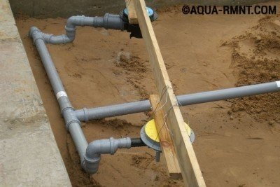 Прокладка канализационных труб для слива