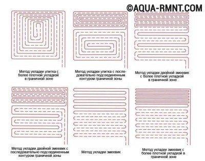 Способы укладки труб системы теплого водяного пола