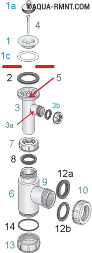 Как собрать слив для раковины на кухне схема