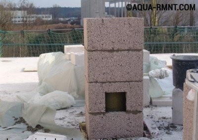 Монтаж керамического дымохода на крыше