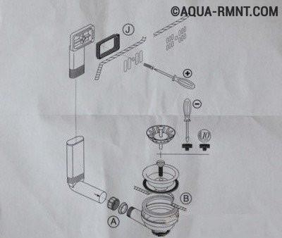 Схема сборки слива из инструкции производителя