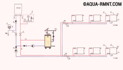Схема обвязки бойлера косвенного нагрева с использованием двух насосов