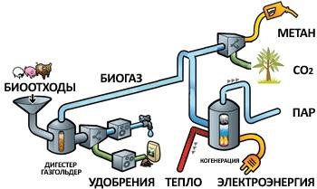 Схема использования биогаза