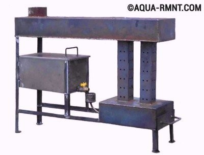 Модель печки на отработке для отопления больших помещений