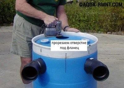Подготовка отверстия для подсоединения переливной трубы