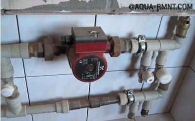 Вариант врезки насоса в трубопровод системы отопления