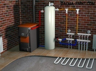 Сестема отопления на электричестве и твердом топливе