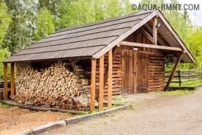Баня с дровами под навесом