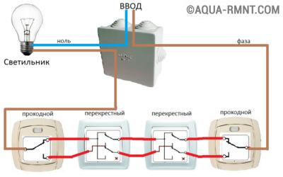 Схема управления освещением из 4-х точек