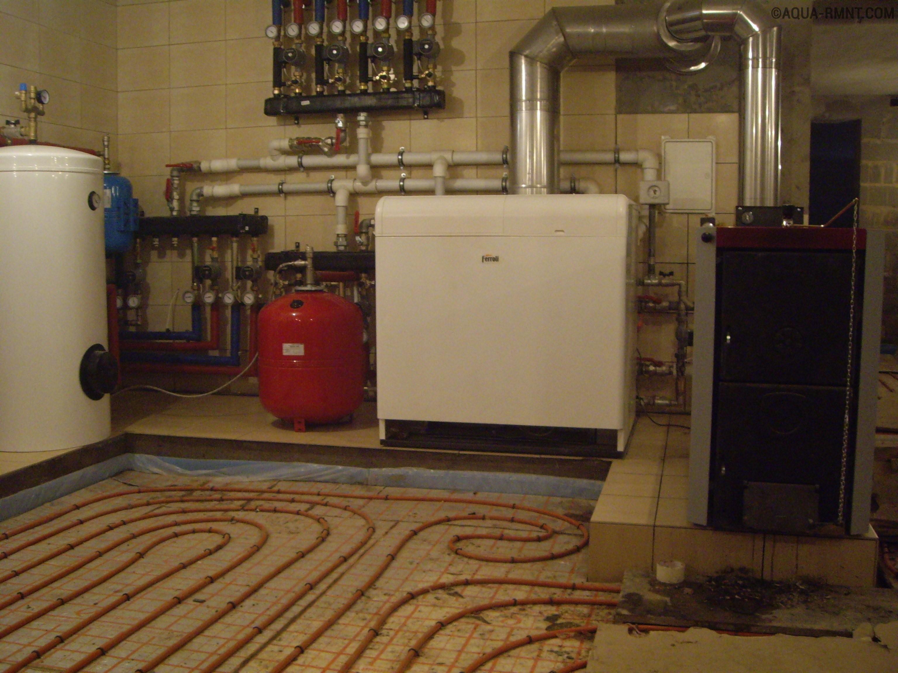 Простая схема подключения бойлера косвенного нагрева, контура отопления и контура тёплых полов к отопительному котлу