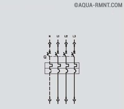 Автоматический трёх или четырёхполюсный выключатель с термомагнитным расцепителем