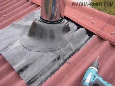 Выход трубы наружу через крышу