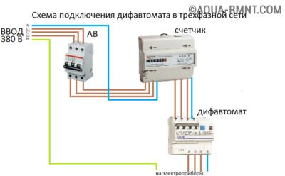 Схема установки дифавтомата