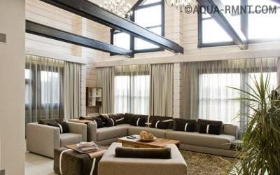 Дом из клееного бруса с двухсветной гостиной