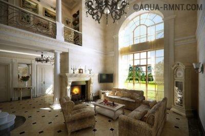 Двусветная гостиная в стиле усадебного дома