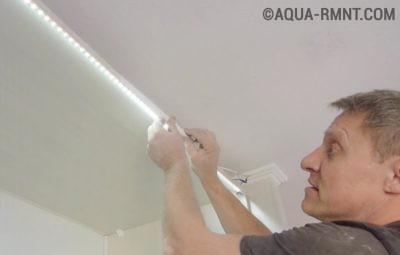 Крепление ленты под потолком