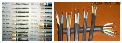 Провод различного сечения для монтажа электропроводки
