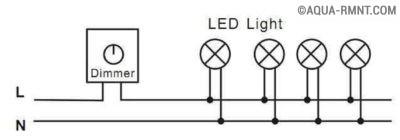 Схема подключения диммера к нескольким светодиодным лампам