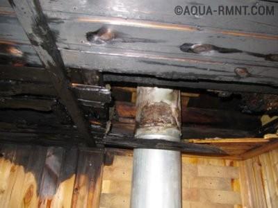 Неутеплоизолированный проход дымохода через потолок