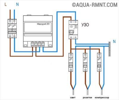 Схема однофазной проводки