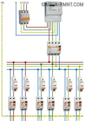 Схема подключения УЗО в трёхфазной цепи