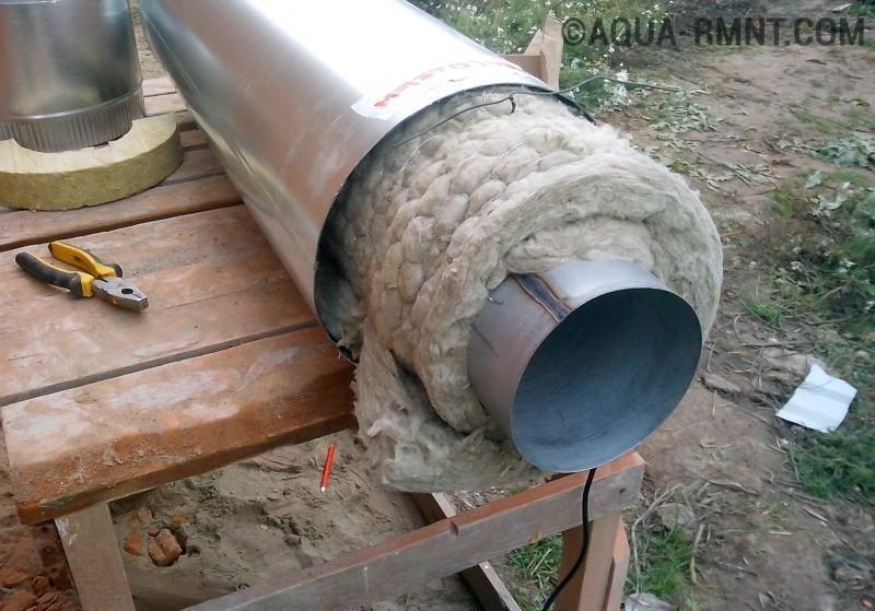 Утепление дымохода из стальной трубы сборка дымохода из нержавейки для камина