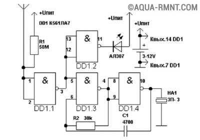 Детектор с акустической и визуальной индикацией