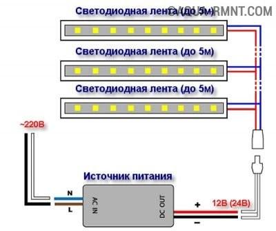 Параллельное подключение светодиодных лент
