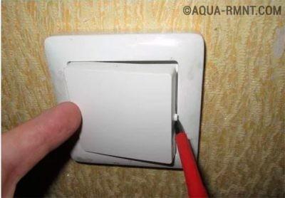 Демонтаж клавиши выключателя