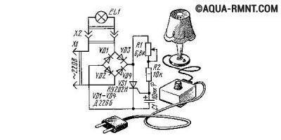 Тиристорная схема плавного включения лампы