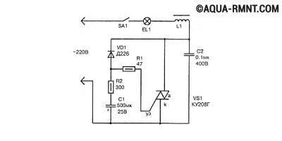 Симисторная схема плавного включения лампы