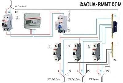 Схема однофазного подключения в бане