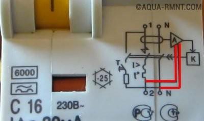 Схема на корпусе электронного УЗО