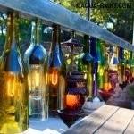 Светильники из бутылок в беседке