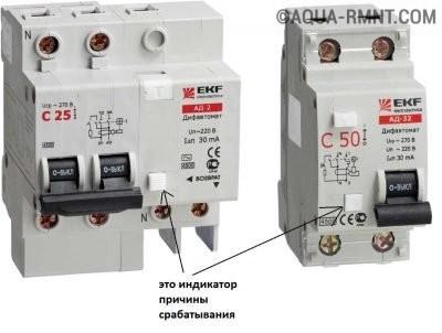 Дифавтомат с индикацией причины срабатывания