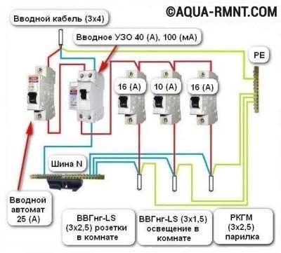 Схема электропроводки с указанием номиналов всех устройств