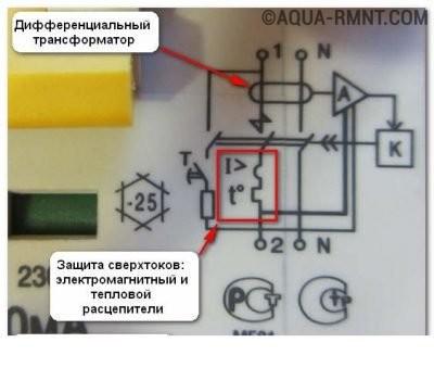 Схема на корпусе дифавтомата