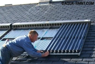 Монтаж гелиоколлектора на крыше