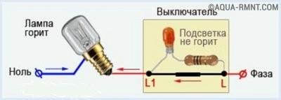 Схема работы выключателя с подсветкой в режиме замкнутых контактов
