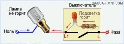 Схема работы выключателя с подсветкой при размыкании контакта